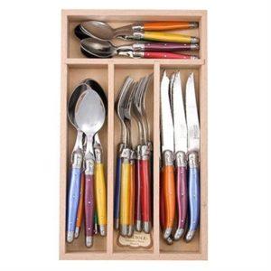 "Veggie Meals - Laguiole ""Andre Verdier"" Debutant 24 piece Cutlery Set in wooden box Mixed Original"
