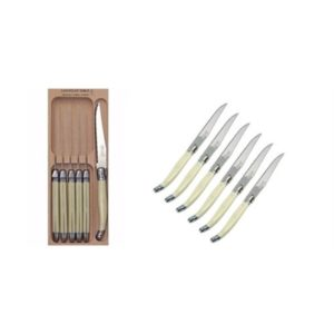 "Veggie Meals - Laguiole ""Andre Verdier"" Debutant 6 piece Steak Knife Set in wooden box Ivory"
