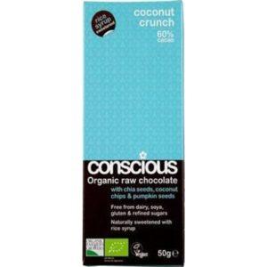 Conscious Organic Raw Chocolate Rice Syrup Coconut Crunch 50gm