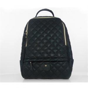 Veggie Meals - Black Vegan Leather Cougar Quilted Backpack