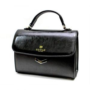 Veggie Meals - Black Vegan Leather Flamingo Bag