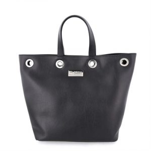 Veggie Meals - Black Vegan Leather Paola Rings Tote