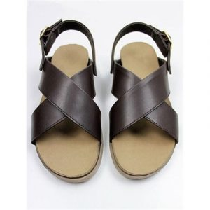 Veggie Meals - Brown Vegan Leather Huarache Footbed Sandals - EU40