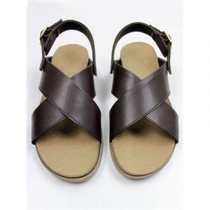 Veggie Meals - Brown Vegan Leather Huarache Footbed Sandals - EU42