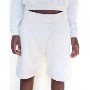 Veggie Meals - White Organic Cotton Asymmetric Boxing Shorts - L