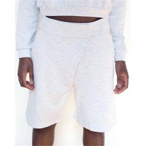 Veggie Meals - White Organic Cotton Asymmetric Boxing Shorts - S