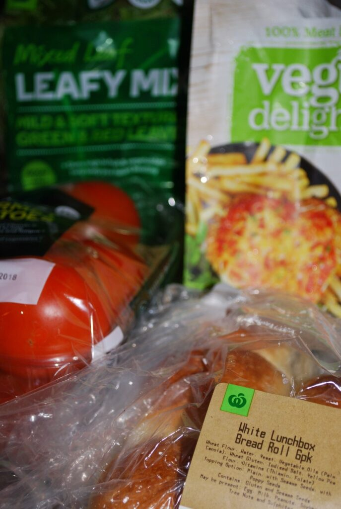 Vegan Crumbed Schnitzel Burger Tomatoes leafy mix From Woolworths
