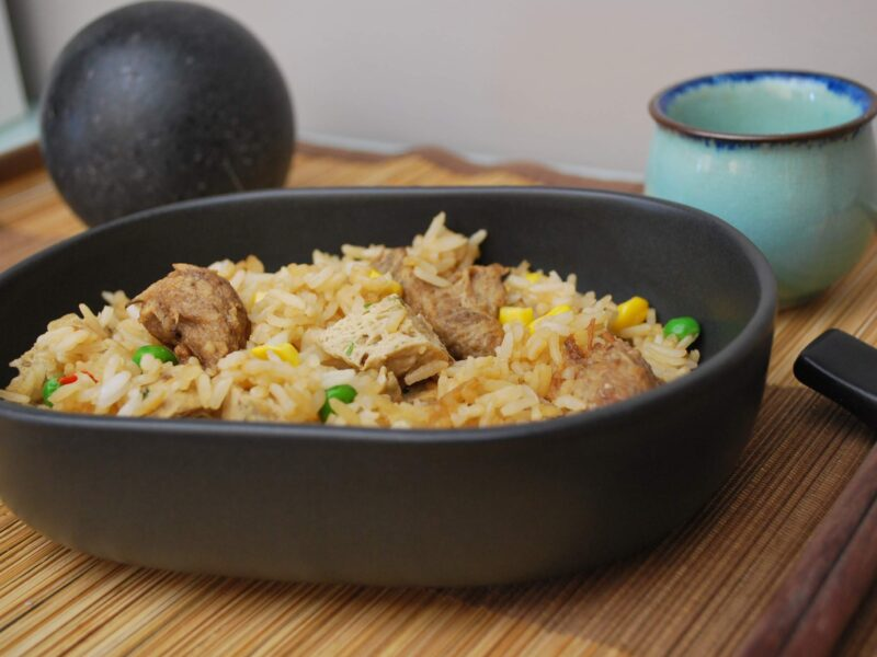 Vegetarian Fried Rice with Mushroom Balls