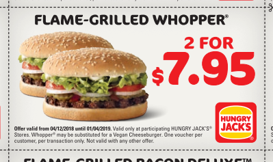Veggie Meals - Hungry Jacks Vouchers 2 burgers