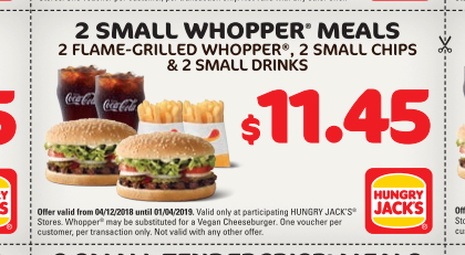 Veggie Meals - Hungry Jacks Vouchers