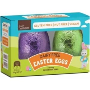 Sweet William Hollow Chocolate Easter Eggs (2x50g) G/F 100g
