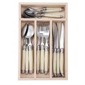 Veggie Meals - Laguiole  Andre Verdier Debutant 24 piece Cutlery Set in wooden box Ivory