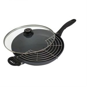 Veggie Meals - Swiss Diamond 32cm 9.5cm deep Wok With Rack and Lid 5.0litre