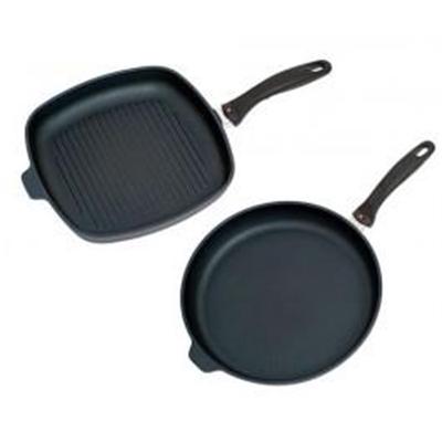 Veggie Meals - Swiss Diamond XD 28cm Shallow Grill + 28cm x 4cm deep Frypan Twin Pack
