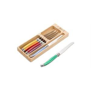 Veggie Meals - Laguiole Andre Verdier Debutant 6 piece Table Knife Set in wooden box Mixed Original