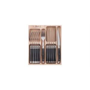 Veggie Meals - Laguiole  Andre Verdier Debutant 12 piece Cutlery Set in wooden box Black