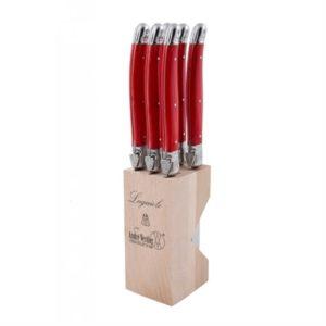 Veggie Meals - Laguiole Andre Verdier Debutant 6 piece Steak Knife Set in wooden block Red