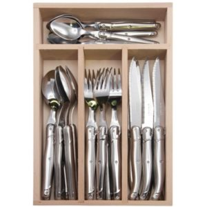 Veggie Meals - Laguiole  Andre Verdier Debutant 24 piece Cutlery Set in wooden box Stainless Steel