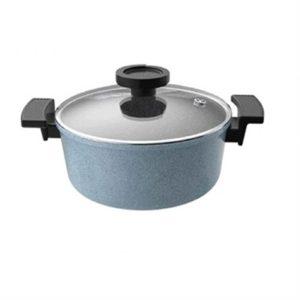 Veggie Meals - Neoflam Casserole 20cm Blue marble + glass lid - Luke Hines
