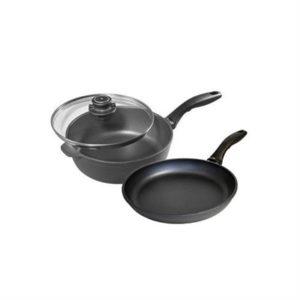 Veggie Meals - Swiss Diamond XD Induction 28cm Saute Pan with lid + 28cm x 4cm deep Frypan Twin Pack
