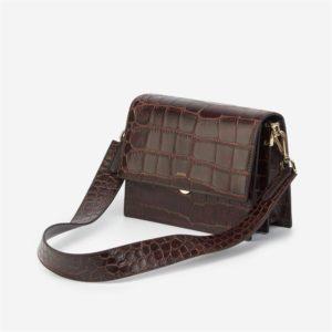 Veggie Meals - Mini Flap Bag - Brown Croc - Fashion Women Vegan Bag