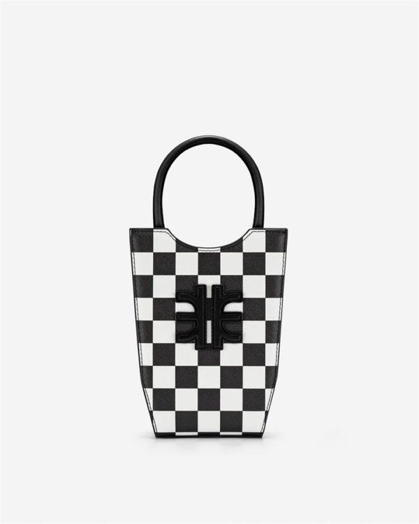 Veggie Meals - FEI Checkerboard Mini Tote Bag - Black & White - Fashion Women Vegan Bag