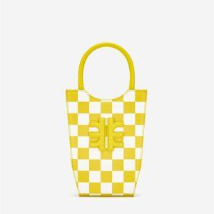 Veggie Meals - FEI Checkerboard Mini Tote Bag - Yellow & White - Fashion Women Vegan Bag