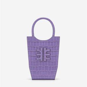 Veggie Meals - FEI Mini Tote Bag - Purple Croc - Fashion Women Vegan Bag