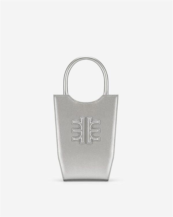 Veggie Meals - FEI Mini Tote Bag - Silver - Fashion Women Vegan Bag
